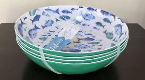 NEW! 4 SIGRID OLSEN Fish Melamine Pasta Salad Bowl Set Green Blue
