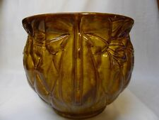 Vintage McCoy Pottery Planter Brown Large Heavy Diamond Quilt.Mid Century