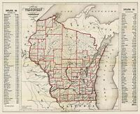 MAP  1866 LAPHAM WISCONSIN STATE TOWN COUNTY POPULATIONS REPLICA PRINT PAM1863