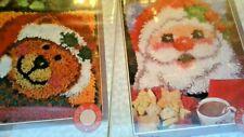 "New listing Christmas ""Santa"" & ""Jingle Bear"" 12"" x 12"" Latch Hook Kits Bear & Santa"