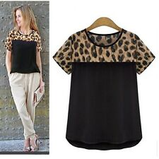 New Women Leopard Printing Chiffon Short Casual T-Shirt Tops Blouse Salable