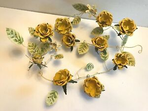 "Italian? Vintage  Metal Tole Garland - Yellow Roses, Leaves, 40"" Long"