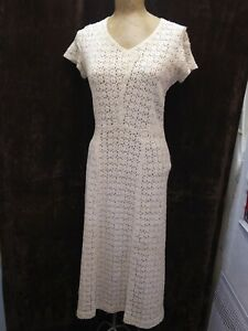 Vintage 1930's Cream White Lace Knit Dress Size Small