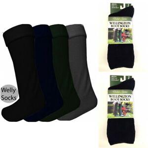 Women Ladies Plain Wellington Welly Wellie Liners Thermal Boot Socks-Khaki 6-11
