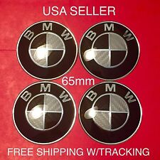BMW 4Pcs Carbon Fiber 65mm Domed Quality Emblem Wheel Center Cap Decals Stickers