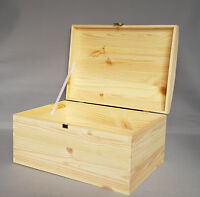 Wooden Chest Trunk Storage Craft Boxes Plain Wood with Lid Hinges Decoupage