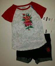 Ed Hardy Girls 2 Pc Rose Set Shirt & Jean Shorts Outfit Size 2T