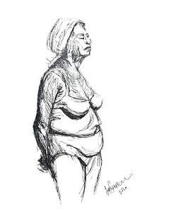 Print of Original art, ink sketch A4 Woman in Bikini figure study black & white