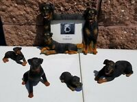 Rottweiler Dogs Resin  Four Figurine Lot and Picture Frame