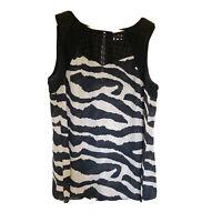 Cabi Tivoli Zebra Print Flowy Sleeveless Sheer Blouse Tank Top Black Medium 5046