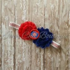 Chicago Cubs baseball elastic infant, toddler, or adult sized headband bow