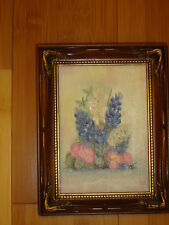 Floral flowers original oil painting lupines signed LAA 5 x 7
