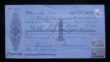 FRANCE bill of exchange 1899 Paris Ernest Herrmann revenue tax stamps 5c. + 50c.