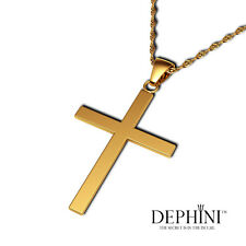 """18K Yellow Gold Cross Necklace CZ Pendant 18"""" Chain - Gifts for Her - DEPHINI™"""