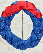 "Vintage Completed Quilted Fabric Wreath Handmade Craft Blue Hearts Red Bow 11"" D"