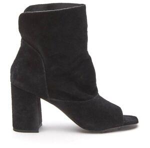 Matisse Size 9 Gordy Peep Toe Black Suede Bootie Boots 7.5cm Heel Height
