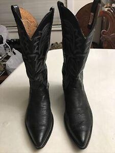 VTG !!! NOCONA Leather Cowboy Western Boots Black Men's Sz 10.5 D USA Made (EUC)