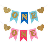 Baby Shower One Birthday Kid Gril Boy Banner Bunting Hanging Party Decoration