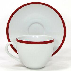 Williams-Sonoma BRASSERIE RED 10oz Cup & Saucer Set 2Pc Japan White Porcelain