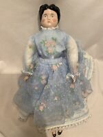 """14"""" German China Head Doll Lace & Floral Dress"""