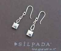 SILPADA Petite Square Hammered Sterling Silver Pillow Dangle Earrings HTF W1639