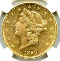 1890-CC $20 Gold Liberty Double Eagle NGC AU-55, Nice Gold Coin, Very Flashy!