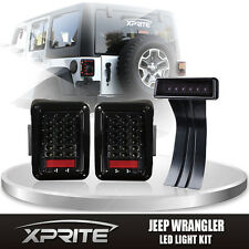 Clear LED Rear Taillight 3rd Smoke Brake Light Combo For 07-17 Jeep Wrangler