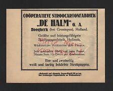 HOOGKERK, Werbung 1929, Coöperatieve Stroocarton De Halm Strohpappen-Fabrik