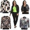 New Ladies Bomber Jacket Womens Plus Size Floral Lace Coat Varsity Rib Nouvelle