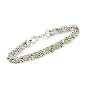 "Qvc Gemstone Byzantine Peridot Tennis Bracelet 7-3/4"" Sterling Silver $95"