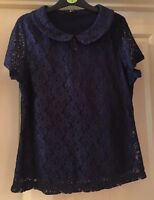 M&Co Navy Lace Effect Top, Size 14 - Lovely!