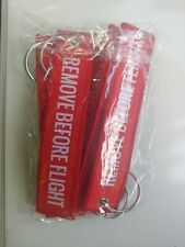REMOVE BEFORE FLIGHT Red Key Chain Embroidery Keyring Key Tag High Quality