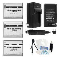 3x LI-50B Battery + Charger for Olympus SP-720UZ SP-800UZ SP-810UZ