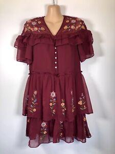 ZARA Burgundy Crinkle Chiffon Floral Embroidered Ruffle Frill Tunic Dress, 8-10