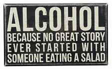 Primitives by Kathy Wood Box Sign, 10-Inch by 6-Inch, Alcohol Alcohol Sign