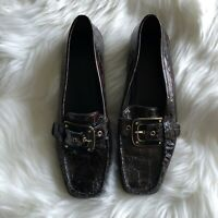 Stuart Weitzman Buckle Black Patent CrocLeather Loafers 6.5 N