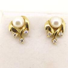 NATURAL DIAMONDS TCW 0.10 pearls 14k yellow GOLD EARRINGS women bridal birthday