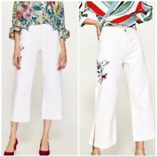 c12fd114 NWT Zara Embroidered White Wide Leg Jeans 2 floral pink green yellow flowers