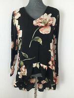 Neue Moderne Damen Langarm Bluse Gr M Blumenmuster Hinten Länger als Vorne