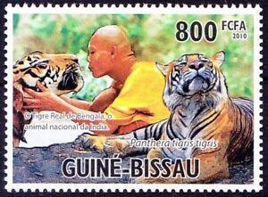 Guinea Bissau 2010 MNH, Holy Animals Indian Bengal Tiger, Wild Catlike Animals