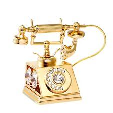 Swarovski Crystal Element Studded Old Fashion Phone Figurine 24K Gold Plated