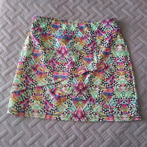 TZU TZU Skort Skirt Pleated Front Stretch Golf Tennis Multicolor Bright Small