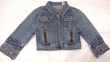 GUESS Rare Vtg 90s Sz XS 0 2 Jean Jacket Distressed Crop 3/4 Sleeve Leather Logo