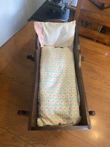 "Antique HandMade Handcrated Wood Doll Cradle Bed  17"" Long W Pillow Mattress"
