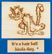 Alley Cat Rubber Stamp by Diamonds + It's a Hair Ball Kinda Day - Mangy Old Cat