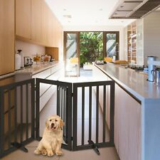 New listing 3Panel Freestanding Folding Wooden Dog Gate Fence with 2 Nonslip Foot Supporters
