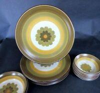 "5 Vintage Premiere Dura Stone Spice 3505 Dinner Plates 10"" Japan Stoneware"
