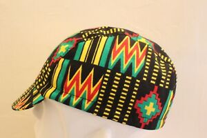 CYCLING CAP 100% COTTON KENTE PRINT   HANDMADE IN USA, NO FROM CHINA   S M L