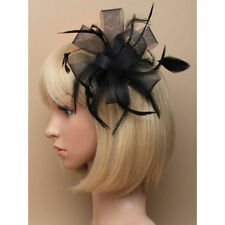 Black Looped Net Ribbon & Feather Fascinator on Clear Comb