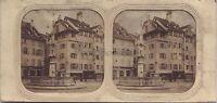 Basilea Fontana Suisse Stereo Tessuti Colorati Vintage Albumina Ca 1860